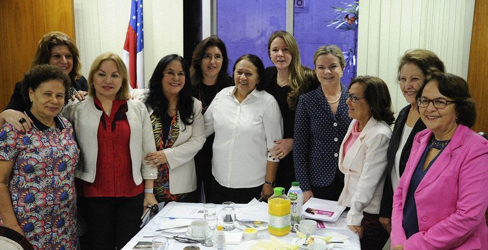 Senadoras e deputadas em café da manhã de trabalho (01/03/2018). Foto: Edilson Rodrigues/Agência Senado