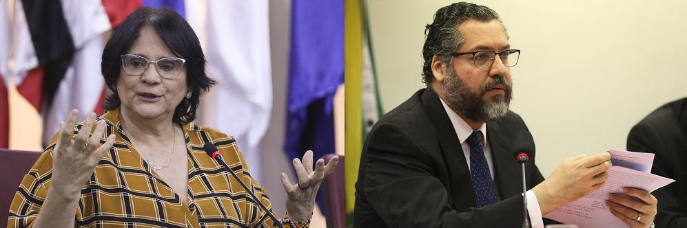 Damares Alves e Ernesto Araújo: ministra de Direitos Humanos e ministro de Relações Exteriores são a face da mudança diplomática do Brasil | Fotos: Agência Brasil