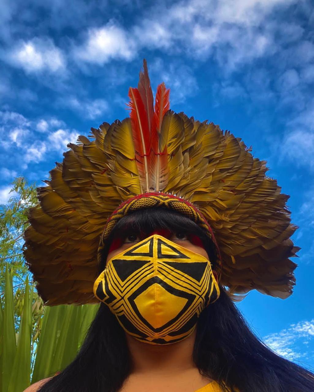 As mulheres Xacriaba têm fabricado máscaras para ser distribuída em todo o território |Foto: Arquivo Pessoal