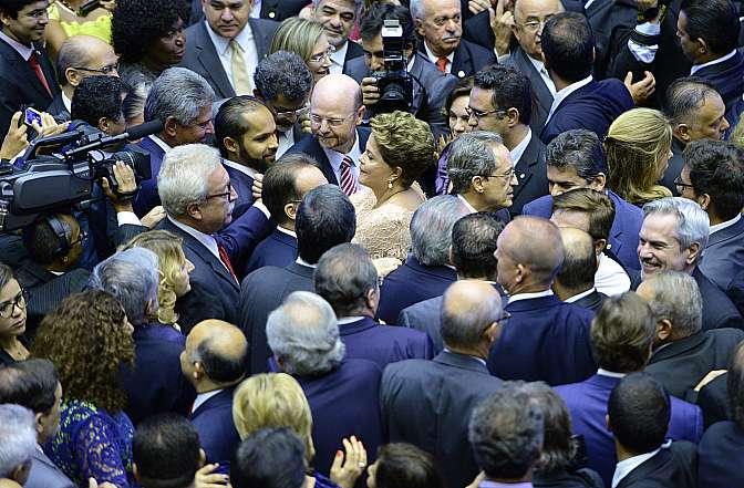 Dilma Rousseff no dia da sua posse como presidente reeleita. | Foto: Nilson Bastian/Câmara dos Deputados